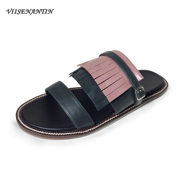 VIISENANTIN Lady Retro Slippers Flat Beach Tassel Slipper Color Match Open Toe Fringe Leather Slides Holidays Shoe
