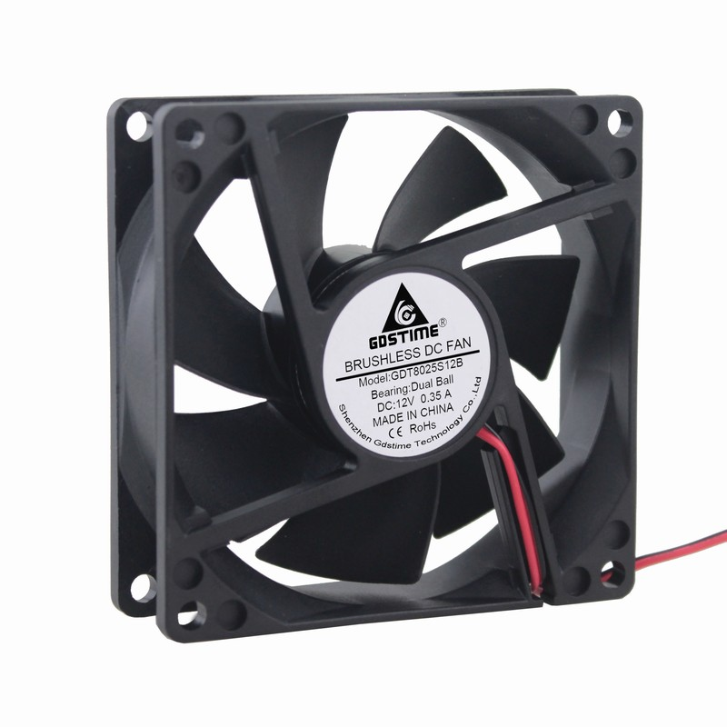 High Speed 0.35A 12V 8CM  80x80x25mm Dual Ball Bearing Brushless Cooling Fan