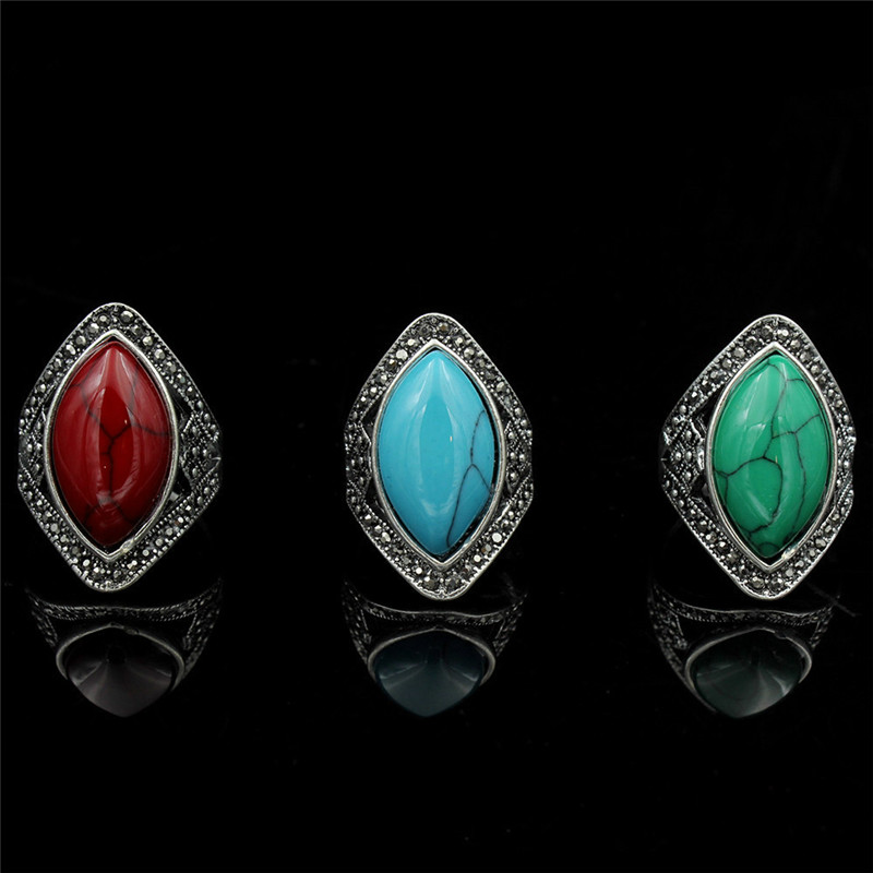 Female blue red green black oval ring fashion ancient for Red black and green jewelry