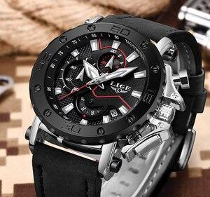 Image 3 - LIGE montre de luxe analogique en cuir pour homme, horloge à Quartz masculine de marque, sportive, style militaire, Date, 2019