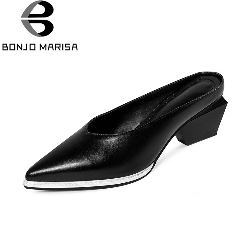 BONJOMARISA 2018 Summer Brand Black Cow Leather Mules High Strange Heels slip-on Shoes Woman Pointed Toe Lady Casual Shoe new stylish designer lady high heels shoes pointed toe concise slip on office career shoes woman string metal bead shoe edge