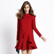 Hot Selling Autumn Winter New Arrival Women's Dress Slim Thin Solid Color Flounced Stand-up Collar Long-sleeved Dress Bottoming