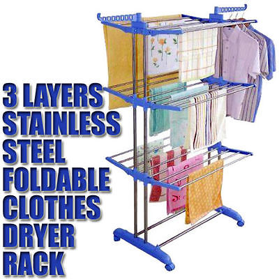 Folable 3 Layers Stainless Steel Dryer Drying Clothes Rack Hanger