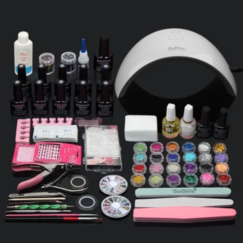 UV LED White Lamp & 10 Color UV Gel Polish+Base+ Top Coat  Cutter Nail Art DIY Tool Kits Sets free shipping nail art manicure tools set uv lamp 10 bottle soak off gel nail base gel top coat polish nail art manicure sets