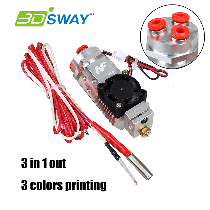 3D printer remote 3 in 1 out extruder kit 12V fan 1.75mm filament compatible with V6/bulldog/titan Mix 3 colors metal extrusion 2017 classic tevo tarantula i3 aluminium extrusion 3d printer kit 3d printing 2 roll filament sd card titan extruder as gift