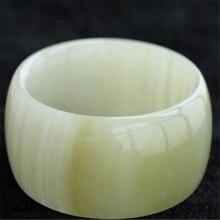 Drop Shipping Women Wide Strip Bangles Natural XinJiang White Jade Stone Bracelets Cuff For Women Engagement Dance Party Gifts