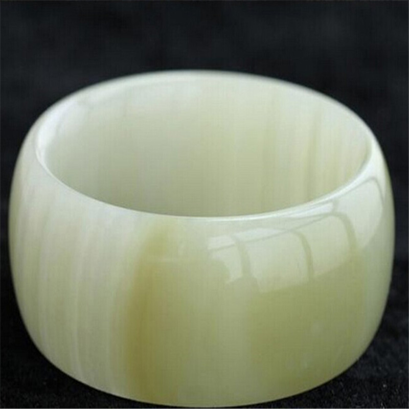 Drop Shipping Women Wide Strip Bangles Natural XinJiang White Jade Stone Bracelets Cuff For Women Engagement Dance Party Gifts