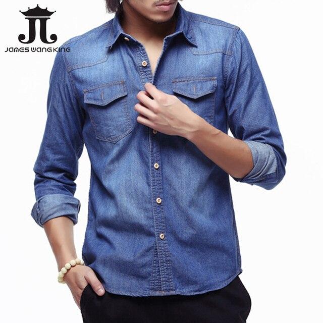 Nuevo 2018 mens denim moda Retro nostalgia bolsillo de manga larga camisa  para hombre mezclilla suave f56d1d8b39c0c