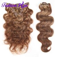 Fashion Plus Clip In Human Hair Extensions Machine Made Remy Hair Extensions Natural Hair 7pcs/set 120g Clip In Hair Extensions