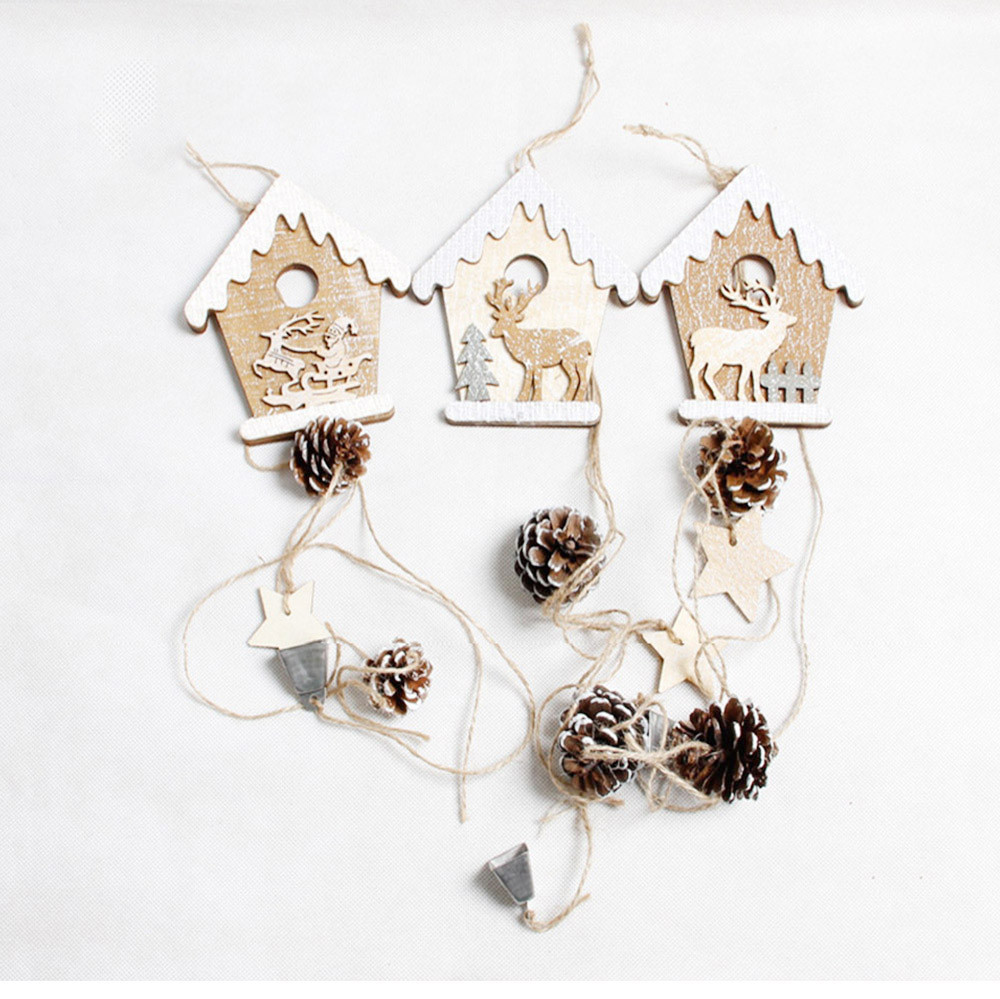 Wooden christmas cabin pendant accessories christmas for Decoraciones de hogar