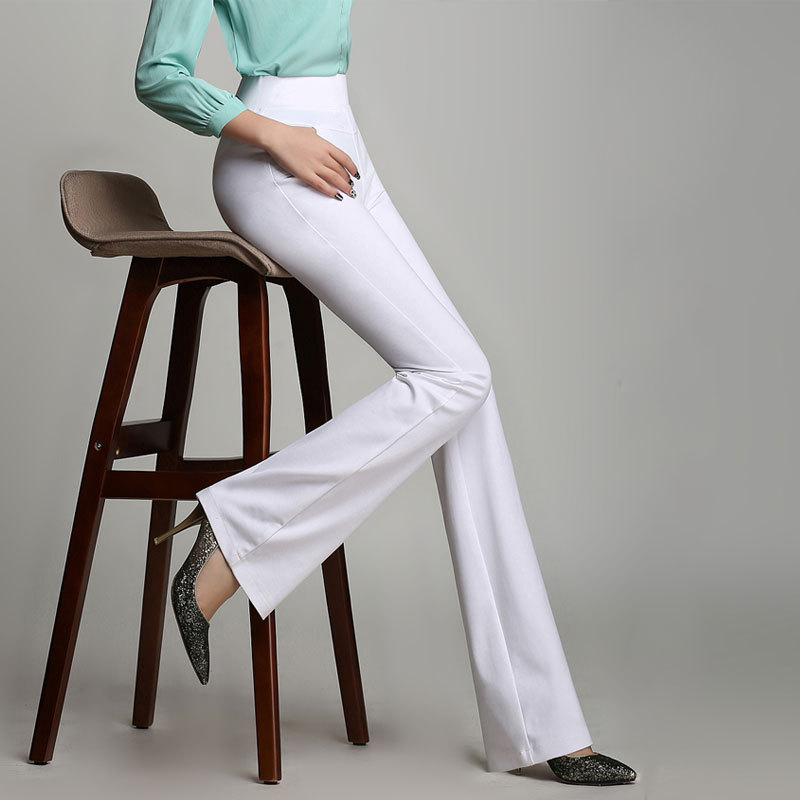 Womens Slim Straight Elegant High Waist Pants Female Long Solid Color Stretchy Flared Pants Plus Size Elastic Band Trousers 6XL