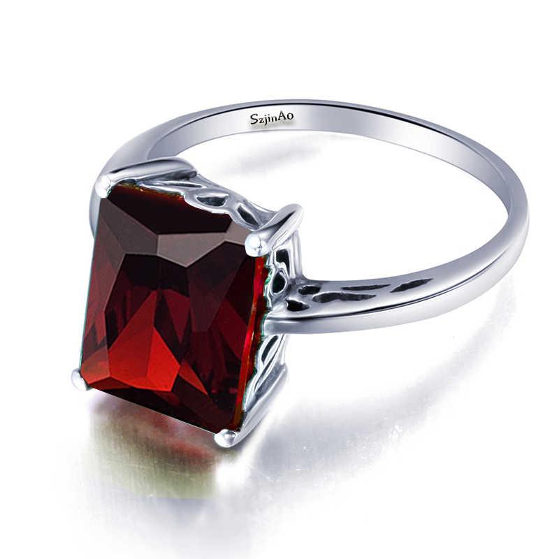 Szjinao ตุรกีโกเมนทำด้วยมือแหวนผู้หญิงเครื่องประดับ Soild 925 เงินสเตอร์ลิงหินสีแดง Finger แหวนมงกุฎสำหรับเพื่อนที่ดีที่สุด