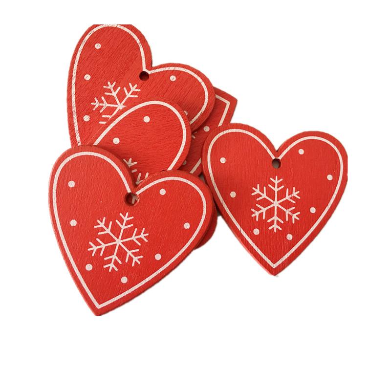 New Year 2020 Christmas Snowflake Wooden Pendant Xmas Tree Decorations for Home Wood Hanging Crafts Navidad 2019 Noel Natal Deco 24