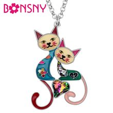 Bonsny Enamel Alloy Rhinestone Crystal Double Cat Necklace Pendant Fashion Animal Pets Jewelry For Women Girls Best Friends Gift(China)