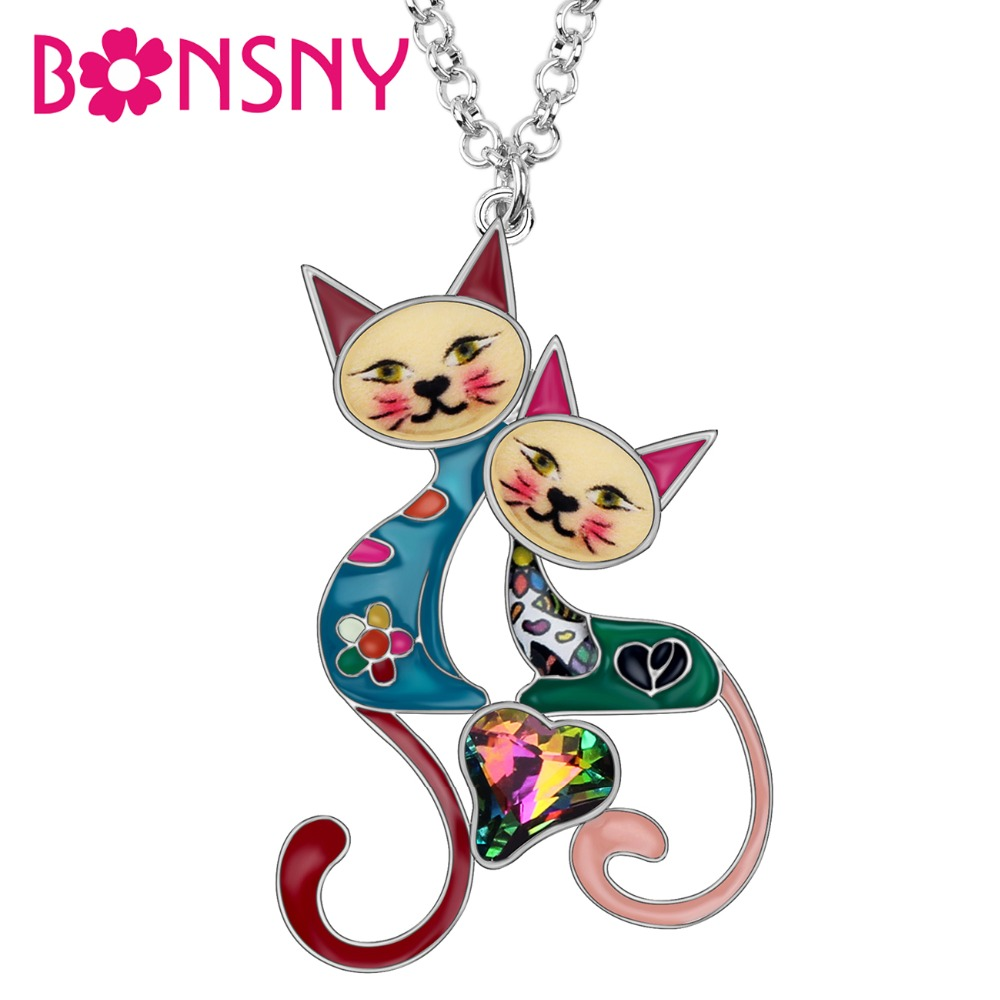 BONSNY Cat Jewellery Pendant Enamel Charm Animal Pet Tag Necklace Women Girls