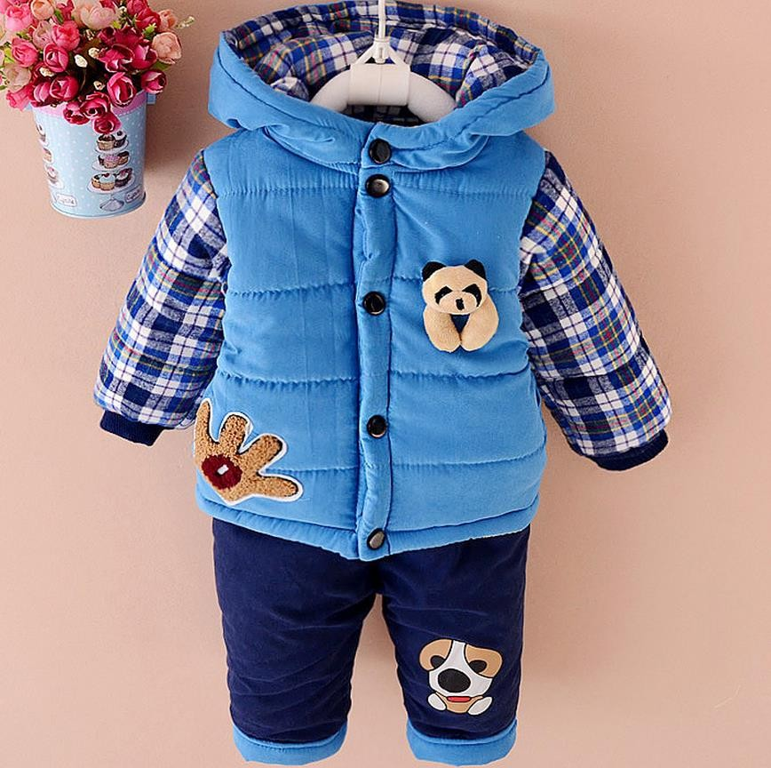 New Baby Boys Clothing Set Winter Warm Clothes Suit Lovely bear Cotton Velvet Clothing Set Fashion Boy's Clothes Toddler 1-3 yea eaboutique new winter boys clothes sports suit fashion letter print cotton baby boy clothing set kids tracksuit