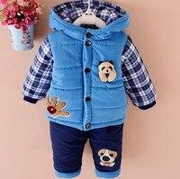 New Baby Trai Quần Áo Mùa Đông Ấm Áp Đặt Quần Áo Phù Hợp Với Đáng Yêu gấu Bông Áo Nhung Tập Thời Trang của Cậu Bé Quần Áo Toddler 1-3 yea
