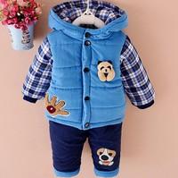 New Baby Boys Clothing Set Winter Warm Clothes Suit Lovely Bear Cotton Velvet Clothing Set Fashion