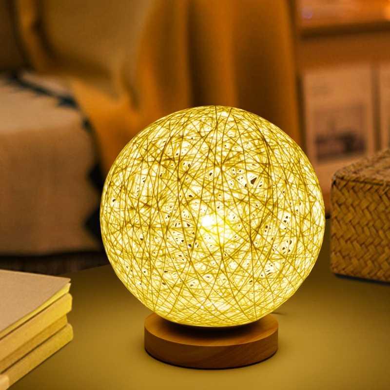 220V Benang Rotan Lampu Meja untuk Kamar Tidur Meja Samping Tempat Tidur Lampu Malam Lampu Dekorasi Rumah Lampu Tidur dengan Adaptor Uni Eropa lampu LED E27