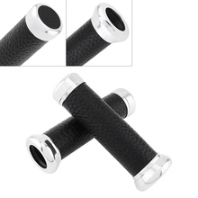 Univeral 2pcs Rubber Retro Motorcycle Handlebar Cover Black Sliver for in 22mm Diameter Motorbike