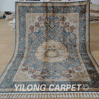Yilong 5.5'x8' Antique handmade carpet hand knotted discount persian rugs (1671)