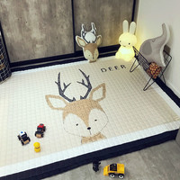 Nordic Fashion Cartoon Deer Bear Rabbit Quilted Living Room Bedroom Decorative Carpet Area Rug Baby Play Crawl Outdoor Camp Mat