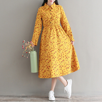 Mori Girl Style Fall Clothes 2017 New Autumn And Winter Corduroy Dress Women Long Sleeve Cherry