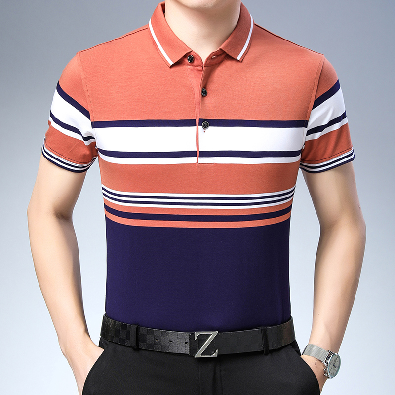 New 2019 Summer Patchwork Colors Business Striped Fashion Men   Polo   Casual Shirt Tops Short Sleeve