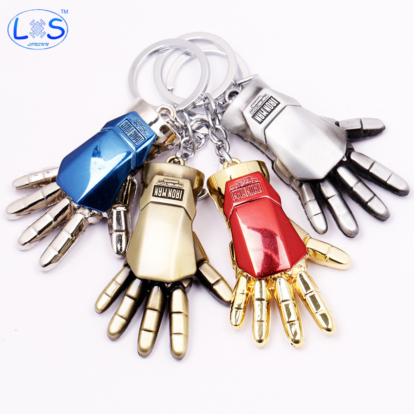 (LONSUN)Fashion 4 Colors Iron Man Palm Hand Key Chains Metal Action figure Pendant Keyring Blue Red Gold And Silver Model Toy