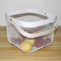 Household Iron Storage Basket with Handle Ornaments Fruit Storage Basket Desktop Organizer Home Living Room Decor Bathing Basket