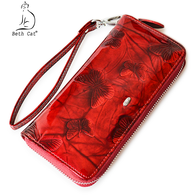 Beth Cat Women Wallet Genuine Leather Butterfly Print Fashion Zipper Long Wallets Clutch Lady Vintage Clutch Bag Coin Purse vintage genuine leather wallets men fashion cowhide wallet 2017 high quality coin purse long zipper clutch large capacity bag