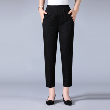 Middle Aged Womens Summer Pants Trousers Elastic High Waist Korean Capris Straight Plus Size 4XL