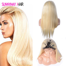10A Blonde Color Dark Roots Brazilian Virgin Human Hair full Lace Human Hair Wig Blonde Ombre 613 Color Human Hair Wigs In Stock