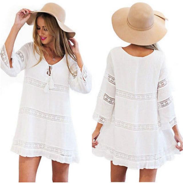 d614026a78 Women Summer Blouse White Loose Short Sleeve Tassel Bikini Beach Cover Ups  Mini Dress Outfit Sundress
