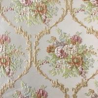 American Style Luxurious Jacquard Woven Light Gray Blue Beige Emboss Flower Sofa Upholstery Fabric 280cm Width