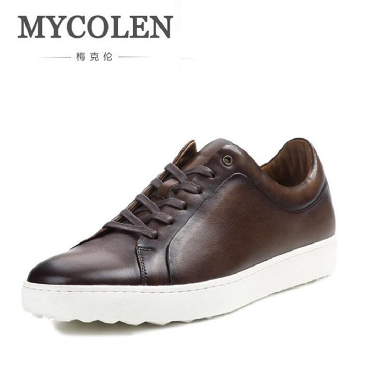 MYCOLEN Winter Men Genuine Leather Shoes Fashion Designer Casual Lace Up Flats Male Comfort Coffee Shoes Chaussures Homme real autumn winter shoes men genuine leather lace up mens casual handmade fashion luxury brand flat breathable flats male shoe