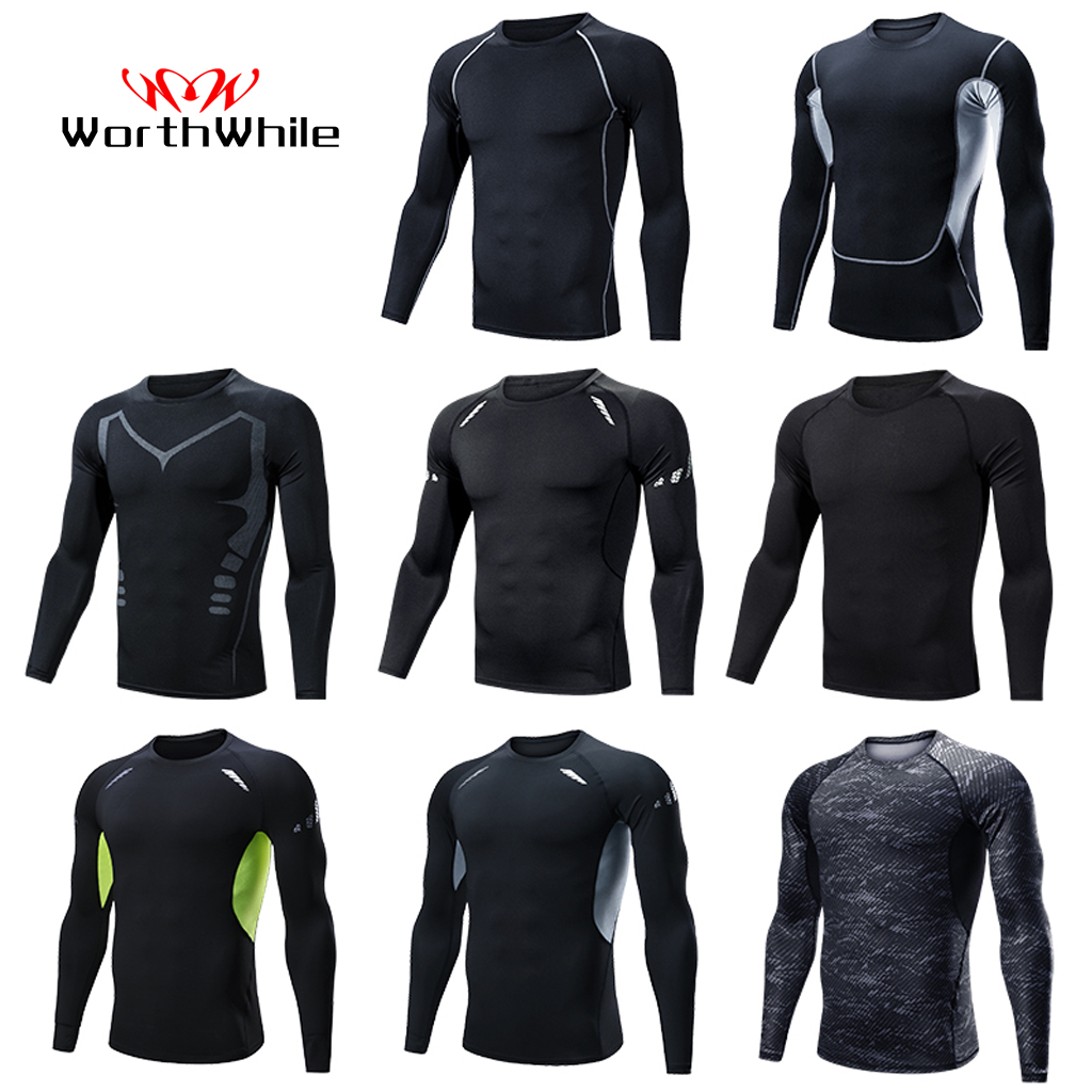 WorthWhile Sports Compression Long Sleeves Tracksuit For Men Quick Dry Wear Running Suit Jogging Gym Fitness Workout Clothes
