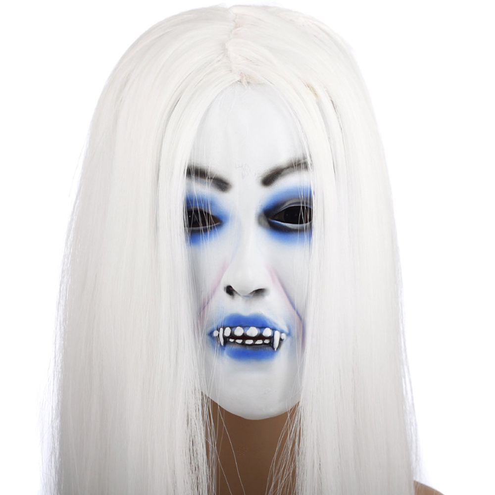white hair devil ghost mask scary for masquerade party halloween