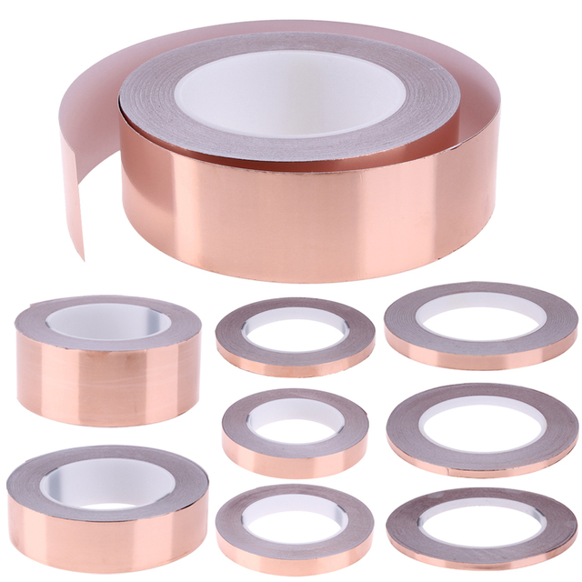 30 Meters Single Conductive Side Adhesive EMI Shielding Heat Resist Copper Foil Tape High Temperature Resistant Tape