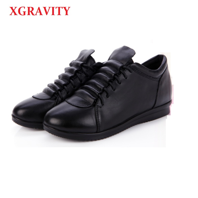 XGRAVITY 2018 Spring Autumn Lady Fashion Genuine Leather Heel Increasing Wedges Casual Round Toe Black Leisure SHoes A011 genuine cow leather spring shoes wedges soft outsole womens casual platform shoes high heel round toe handmade shoes for women