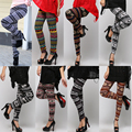 Hot Popular Cotton Blend Snowflakes Fawn Leggings Long Pants Ninth Pants For Women