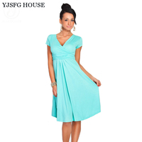 YJSFG HOUSE Women's Sexy V-Neck Maternity Dress Stretchy Tunic Short Sleeve Office OL Dresses Loose Hem Plus Size Robe Femme