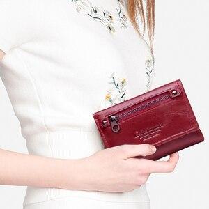 Image 5 - Модный короткий кошелек Contacts для женщин, маленький бумажник из натуральной кожи с rfid защитой и застежкой, кредитница, бумажники для женщин