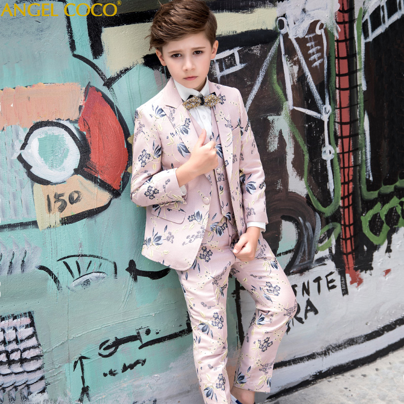 5 Piece Suit Trousers Vest Shirt Bow Tie Strap Pink Print Children'S Blazers For Boy Suit Male Host Model Catwalk Evening Dress t016 new fashion boy suit jacket children show host children s piano vest suit t shirt vest pants bow tie boy blazer suit