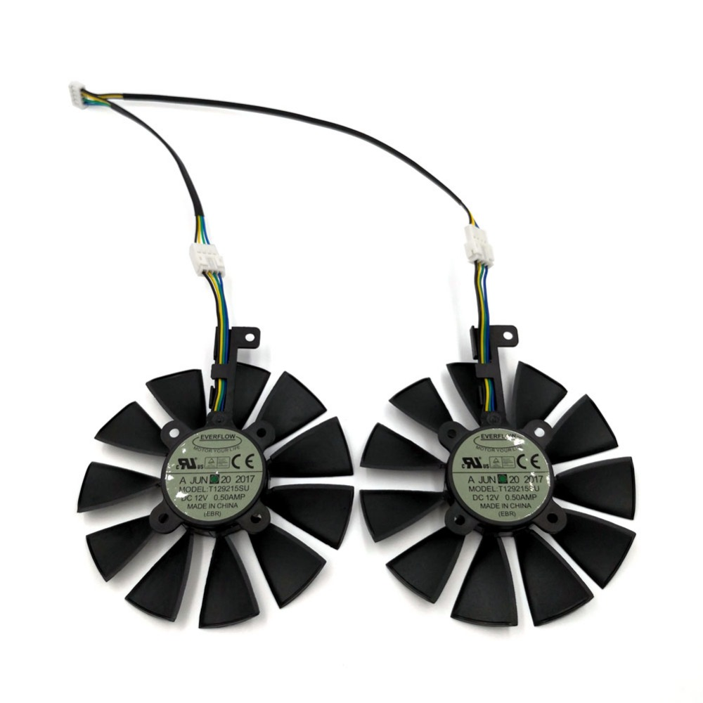 Original EVERFLOW T129215SU Replacement Graphics Fan for VGA Card ASUS ROG STRIX GTX1070Ti GTX1060 GTX1050Ti RX560 RX570 RX580 2pcs lot everflow t128010sm 75mm dc 12v 0 2a graphics card cooler fan for vga video card xfx hd6790 hd6950