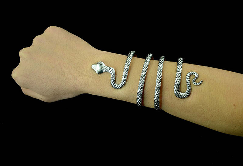 Thailand Tibet Silver Snake Open Cuff Bracelets Bangles Armlet Men - Fashion Jewelry - Photo 3