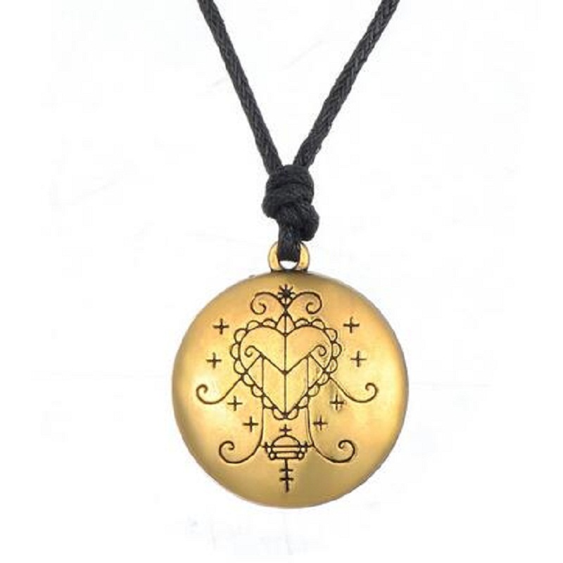 5 PCS Gold & Silver Ezili Freda Voodoo Loa Veve Pendant Hand Stamped Vodoun Lwa Love Talisman Jewelry Hoodoo Amulet Necklace