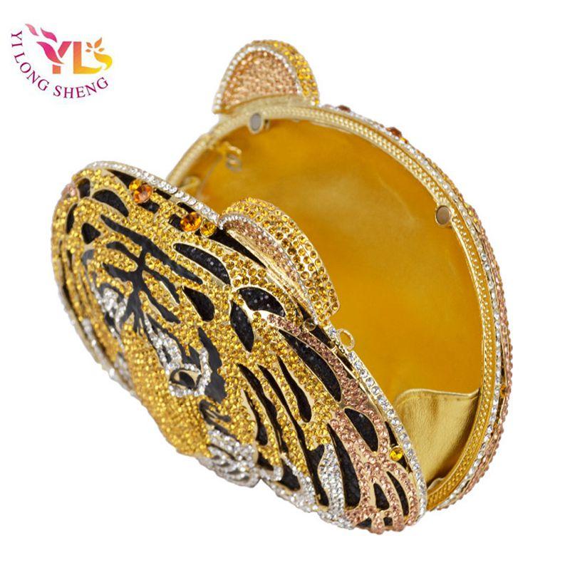 Femmes strass soirée embrayages tigre conception strass dames embrayages en gros diamant or soirée embrayage sac à main YLS-A05