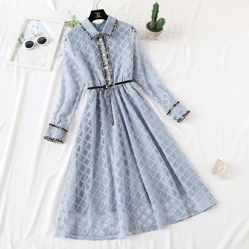 Sweet Spring Dress Women Knitted Lace Dress Long Sleeve Slim Sweater Dress Bodycon Casual Long Dress