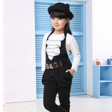 Девочки комплект — воротник-лодочка с оборками шифон футболки и гарем комбинезон брюки